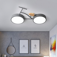 24W Nordic LED Kids Bedroom Ceiling Lamp 3 Color Temperature Bike Ceiling Mount Lamp For Children Baby Room Green White Gray
