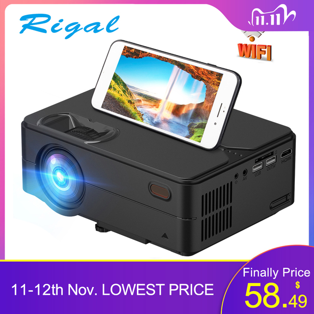 Rigal RD813ミニプロジェクター1280 × 720 1080p wifiマルチスクリーンプロジェクターホームシアターproyector 3D映画hdプロジェクターサポート1080p