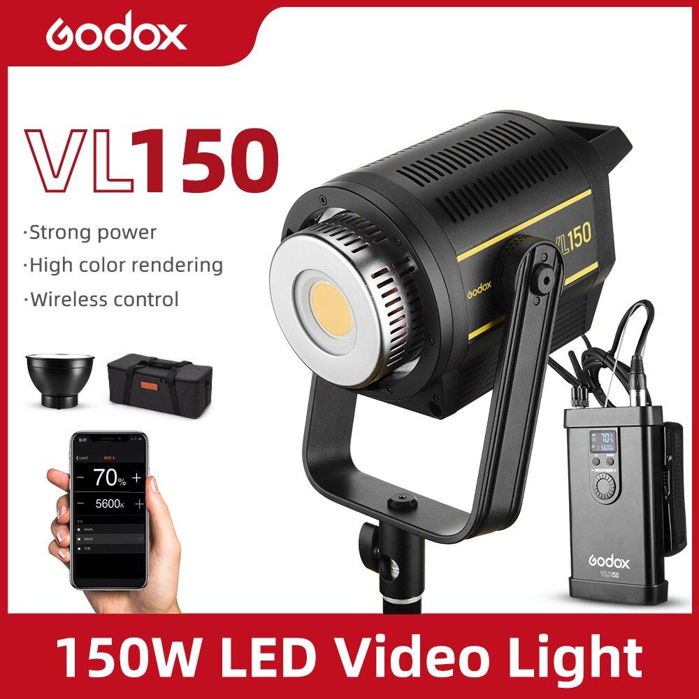 Светодиодная лампа для видеосъемки Godox VL150, 150 Вт, 5600K, белая версия, непрерывный выход, крепление Bowens, студийное освещение, Поддержка приложен...