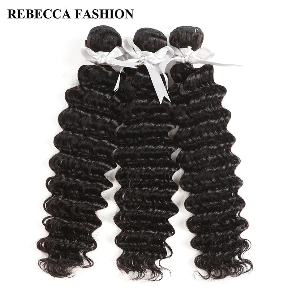Rebecca Peruvian Deep Wave Bundles Deal 1/3/4 Bundles 8-30 Inch 100% Remy Human Hair Extensions Peruvian Hair Bundles