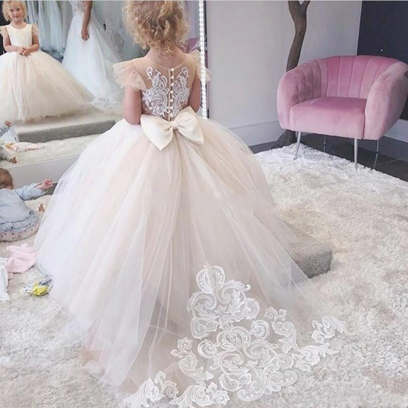 Flower Girls Dress Champagne Children's Clothing Party Elegant Princess Long Tulle Baby Girls Kids Lace Wedding Ceremony  Dress