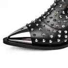 Inverno Ankle Boots de Couro Genuíno Das Mulheres Apontou Toe Rebite Botas de motociclista Cravejado Botas Mujer Botines Mulheres Luxo Chelsea EUR - 6