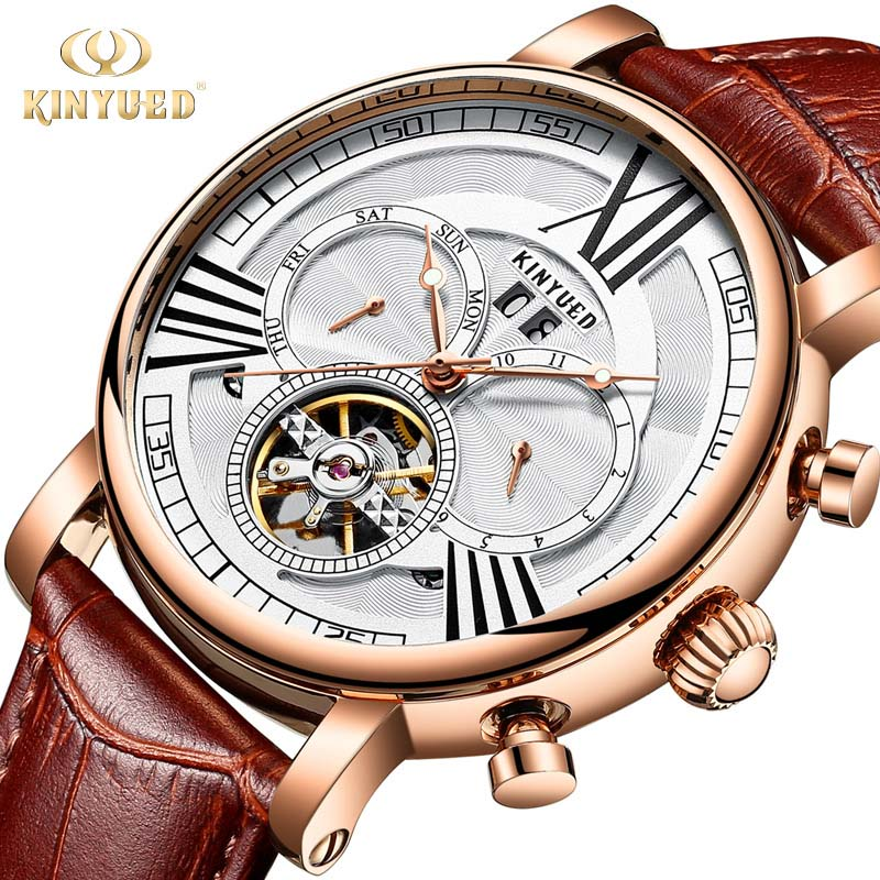 Automatic Mechanical Watch Mens Luxury Brand Tourbillon Watches Perpetual Calendar Army Military Male Clock reloj hombre KINYUED