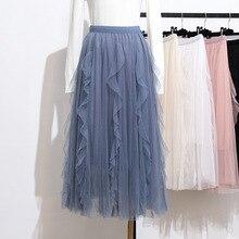 Vintage Ruffles Skirt Casual Pleated Mesh Long Kawaii Korean 2019 Summer Faldas