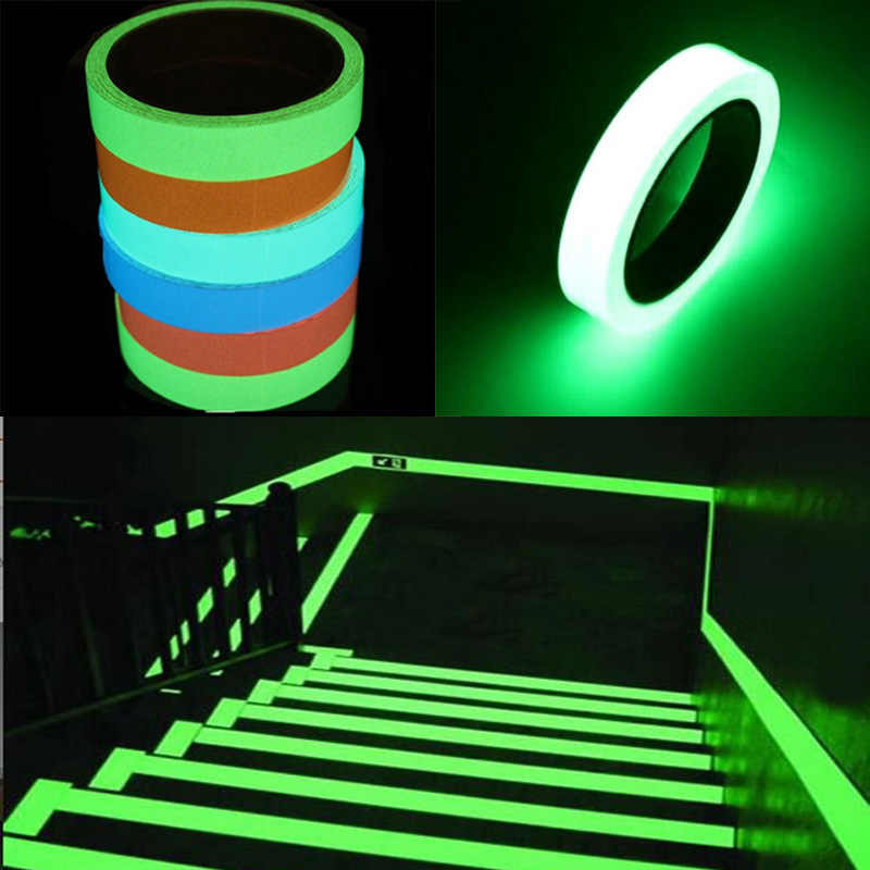 10M Nastro Luminoso di Auto-adesivo Glow In The Dark icurezza Fase Sticker Complementi Arredo Casa Del Partito Forniture Di Emergenza Logo