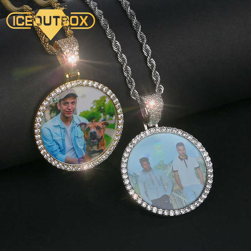 Hot Custom Photo Pendant Necklace Personality Men's Hip Hop Jewelry With 4mm Tennis Chain Cubic Zircon Gold Silver Rose Gold
