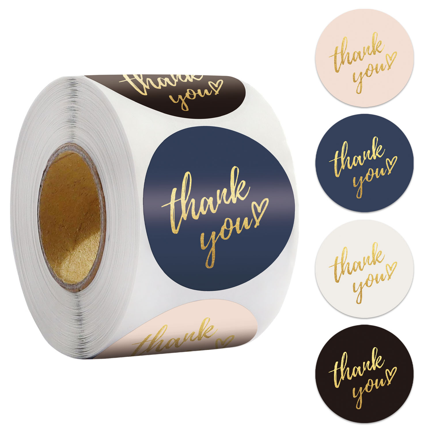 Blue Thank You Stickers Seal Labels 500pcs 1inch Gold Foil Paper Decoration Sticker For Handmade Wedding Gift Labels Stationery