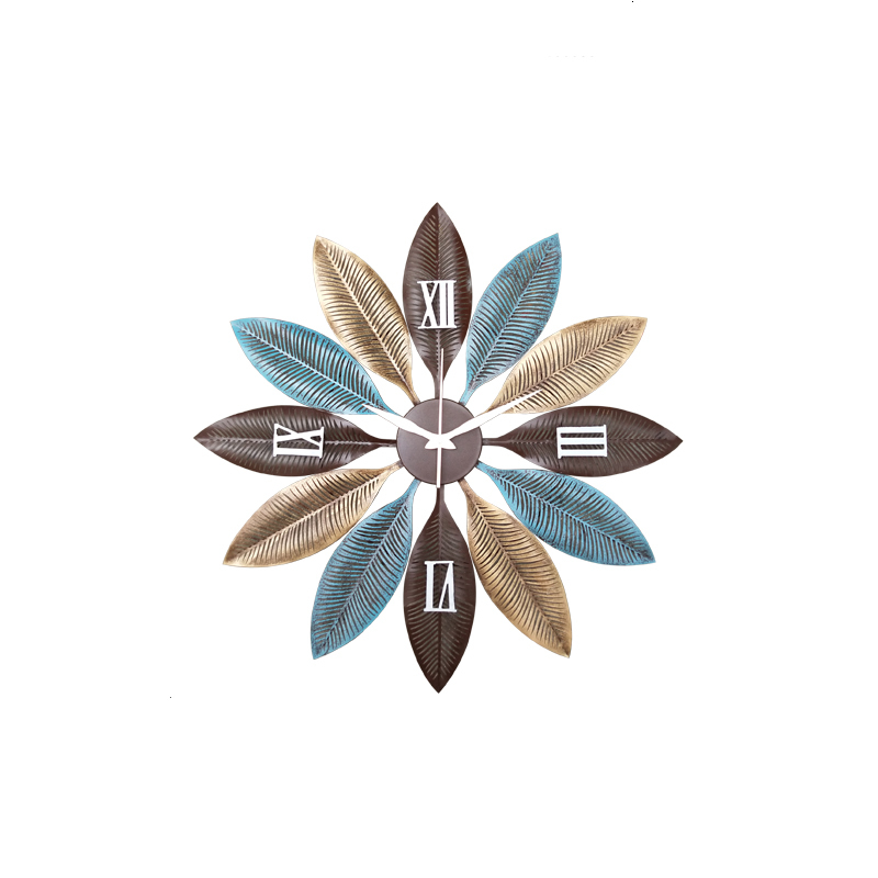 American Wrought Iron Modern Crafts Leaf Chandelier Pendant Clock Wall Decoration Home Livingroom Wall Clocks