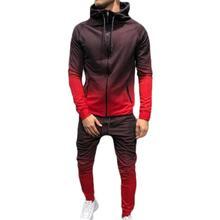 Повседневный мужской спортивный костюм с капюшоном, однотонная мужская спортивная одежда из двух частей, Весенняя и осенняя одежда для фитнеса, ropa deportiva hombre