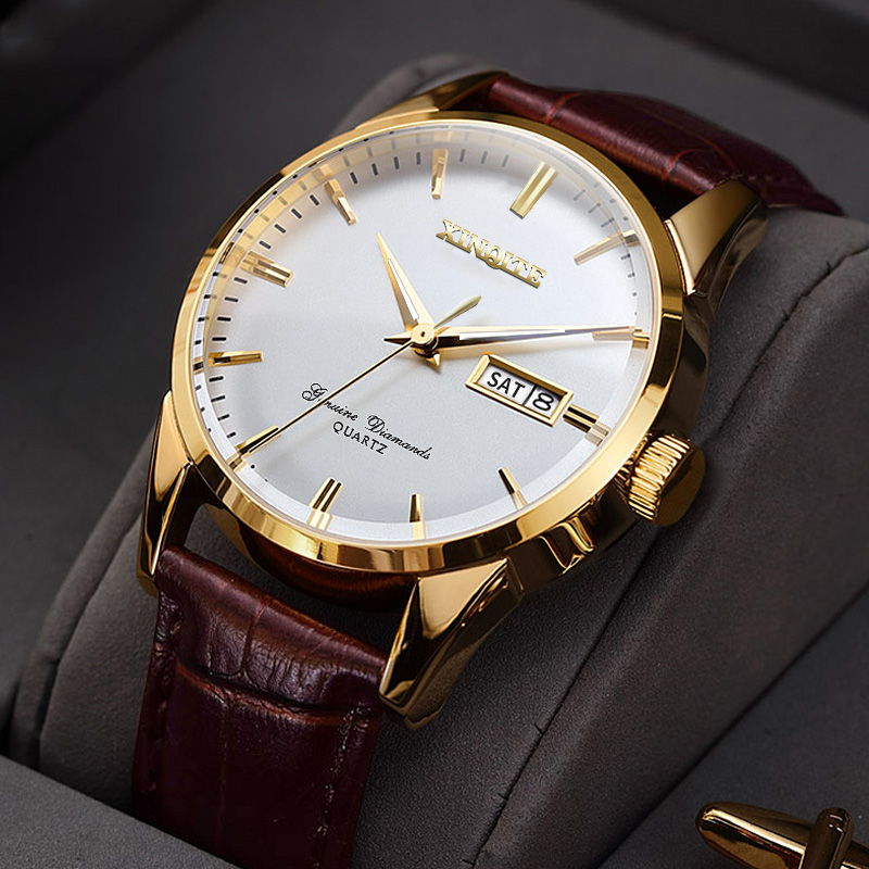 XINQITE Official Men Watches 2019 Brand Luxury Quartz Watches Fashion Genuine Leather Waterproof Watch For Gentleman Students