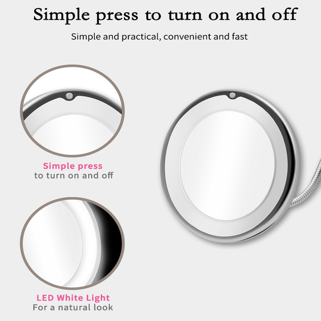 LED Mirror Light Makeup Mirror with Led Light Flexible 10X Magnifying Mirrors Light Cosmetic Miroir Dropshipping Vanity Mirrors 3