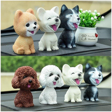 9cm Husky Teddy Pomeranian Shaking Head Dog Car Ornament Cute Nodding Decoration Gift For Car Interior Home Room Car accessories