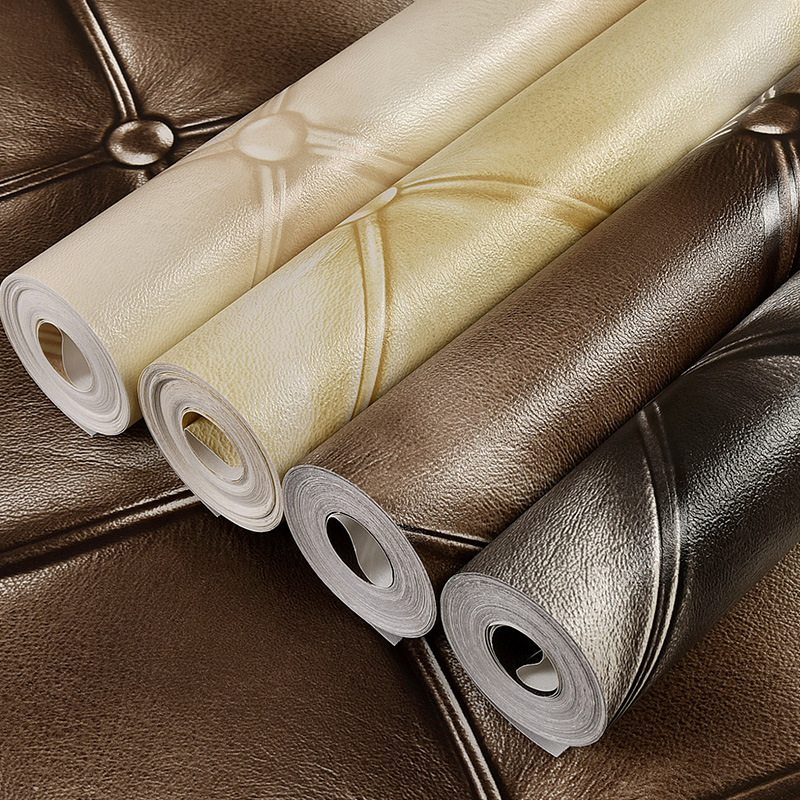 Retro Nostalgic European Style 3D Faux Leather Pattern Soft Bag Wallpaper Hotel Bedside Bedroom Living Room Television Wall Pape