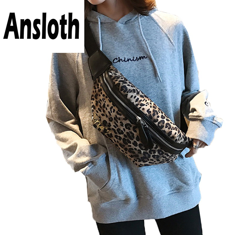 Ansloth Leopard Pattern Waist Pack Lady PU Leather Belt Bag Women Bag Letter Printing Fanny Bag Female Zipper Waist Bag HPS734