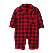 New Autumn Baby Boy Romper Casual Infant Plaid Print Long Sleeve Children Jumpsuit Outfits for Boys