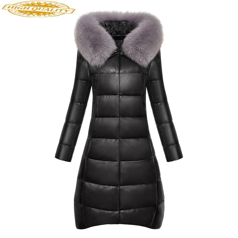 Real Sheepskin Coat Women 2020 Winter Genuine Leather Jacket Womens Down Jackets Fox Fur Collar Hooded Plus Size 22280