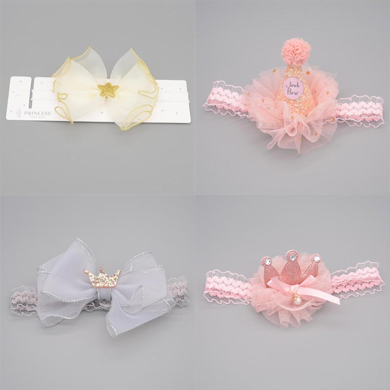 Newborn Photography Props Baby Girl  Elastic Princess Hairbands Accessories Florals Headband Bowknot Crown Kids Headwear Gifts