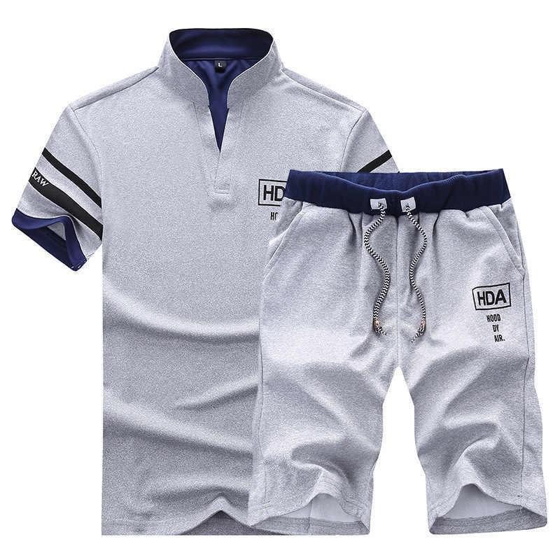 2020 novos conjuntos de treino dos homens do verão marca manga curta casual magro ajuste desportista t camisas + shorts carta impresso esporte terno