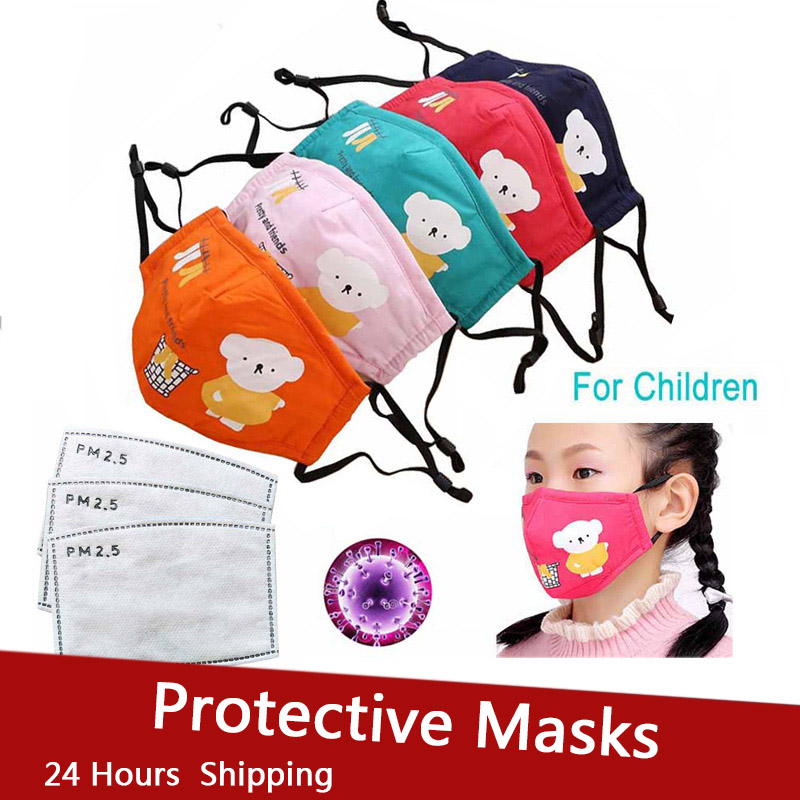 FFP2 Child FFP3 Mouth Mask Kids Thicken Cotton Face Mouth Mask Dust Pollution PM2.5 Cartoon Animal Mask Protective