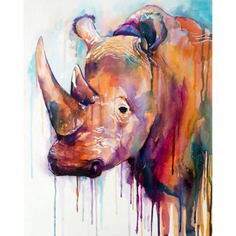 Framed Painting By Numbers DIY Animals Colored rhinoceros Acrylic Paint Modern Wall Art Picture Unique Gift For Home Decor-0