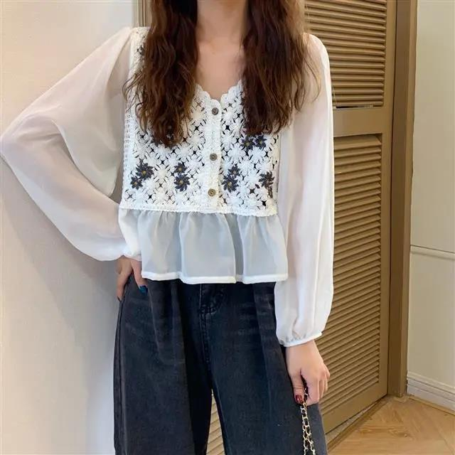 New White Vintage Embroidery Chiffon Blouses Women Sexy Puff Sleeve Tops Elegant Lady Ruffles Shirts Fall Blusas Mujer Plus Size 2
