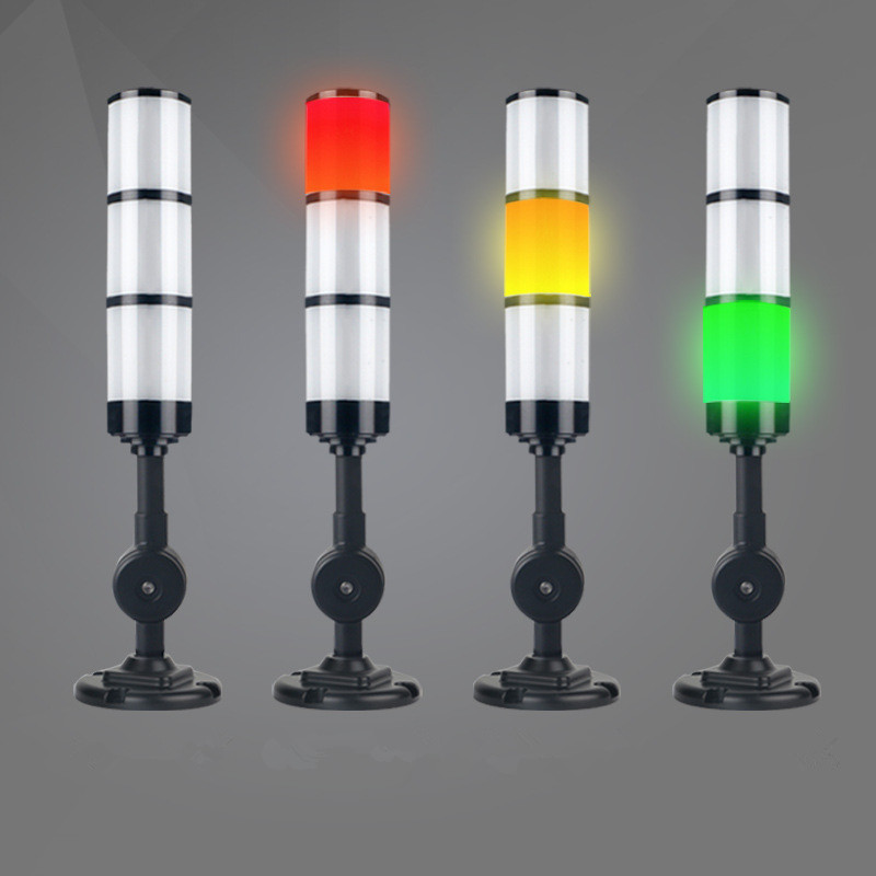 Industrial 3 Color/Stack Foldable Signal Tower Alarm Caution Light Bright 12V/24V Black Buzzer Tower Indicator Lamp For Machines