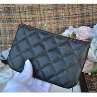 Luxury classic zipper coin purse top quality women calfskin genuine leather designer feminina brand caviar small wallet
