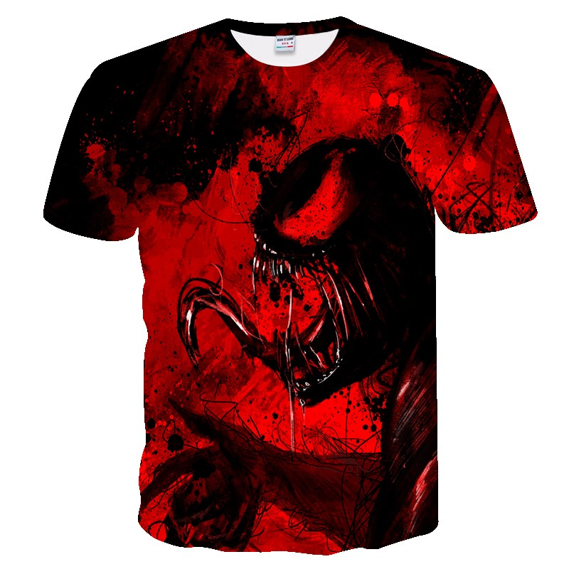 Hip Hop Style Black & Red Venom Marvel 3D Printed T-shirts For Men Women Summer Funny Casual T-shirts Crewneck Loose Tees