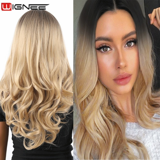 Wignee Middle Part Ombre Blonde Long Wavy Hair Synthetic Wig For Women Natural Heat Resistant Daily/Party Fiber Natural Hair Wig