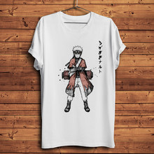 Shinobi divertida-Camiseta de manga corta para hombre y mujer, camisa de estilo acuarela de tinta, informal, blanca, manga corta, estilo anime japonés