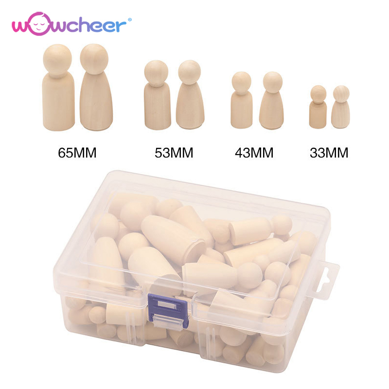 WOWCHEER 50pcs Unfinished DIY Wooden Peg Dolls Bodies 35mm/43mm/55mm/65mm Decorations Handmade Creative Toys Kids Adults Gifts