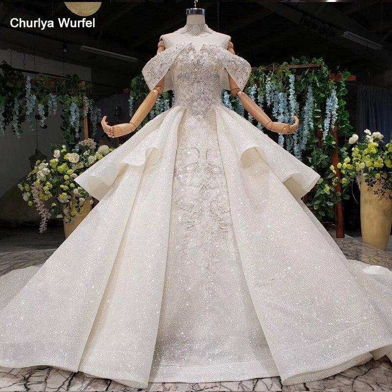 HTL988 Vestido De Noiva Princess Wedding Dresses Off Shoulder Bead Collar Chain Shiny Wedding Gown Royal Train Trajes De Novia