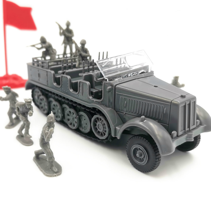 1:72 Scale German Military Sd.Kfz.7 Half-Track Vehicle Plastic Assembly Model Armored Car With Soldiers Model Toys For Children