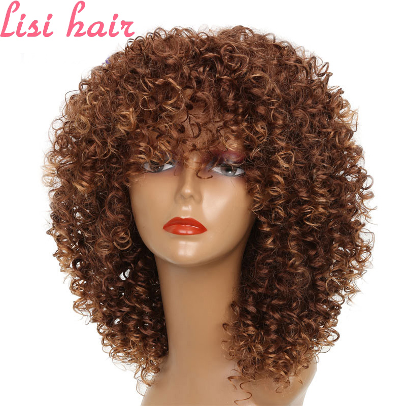 Peruca de Cabelo Encaracolado de Cor Fibra de Cabelo Lisi Hair Curto Castanha Africano Sintético Alta Temperatura