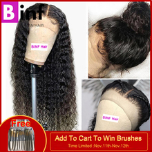 BINF, высокое соотношение, волосы remy, 360, фронтальный парик, бразильский, глубокая волна, парик с детскими волосами, предварительно выщипанные волосы, цвет 1B для женщин