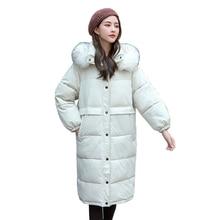 2019 New Arrival Winter Long Jacket Women With White Fur Hooded Womens Jackets Outwear Female Coat Parka