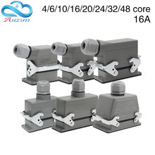Heavy-Duty Connector Rectangular Hdc-He-4/6/10/16/20/24/32/48Core Industrial Waterproof Aviation Plug 16A Top And Side