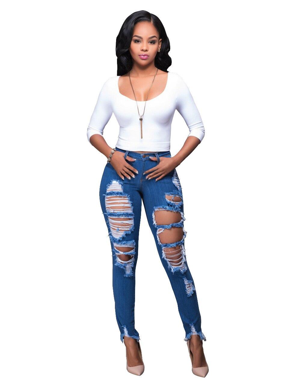 Plus Size Boyfriend Jeans for Women Streetwear Ripped Distressed High Waist Stretch Skinny Trousers Denim Push Up Slim Femme Jeans Women Bottom ! Plus Size Women's Clothing & Accessories