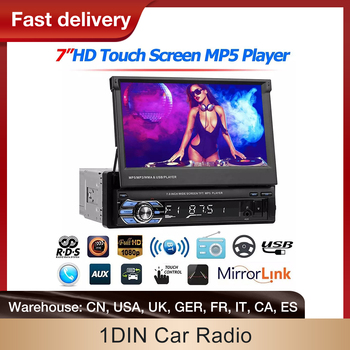 1 Din Car Radio GPS Navigation Bluetooth Rear View Camera Auto Radio Video Player MP5 Stereo Audio FM USB Multimedia Player image