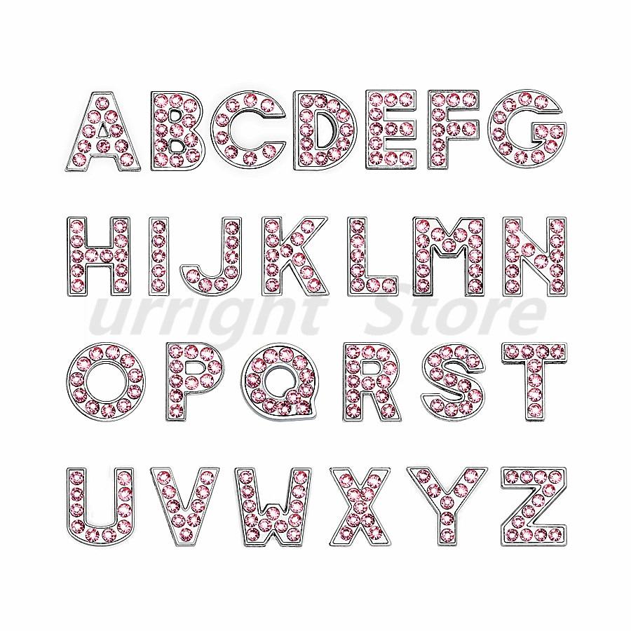 8mm-铬色粉色钻-字母穿戴