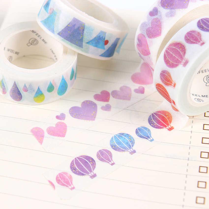 1 unidad de grúa de papel/montaje Fuji/globo de aire caliente cinta de Cinta adhesiva Washi de Color DIY Scrapbooking etiqueta adhesiva cinta adhesiva