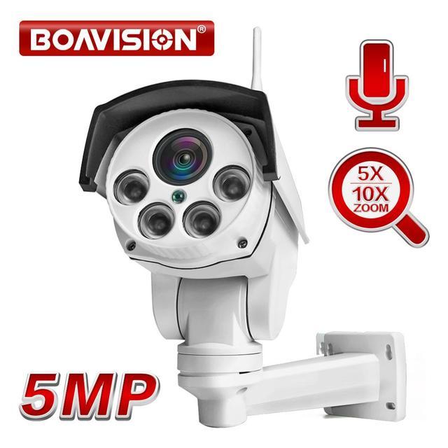 Super HD 1080P 5MP Wifi PTZ Macchina Fotografica del IP Onvif Audio 5X 10X Zoom Ottico 2MP CCTV Della Pallottola di Sicurezza Telecamere outdoor IR 50M P2P CamHi
