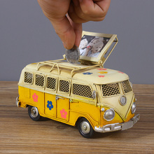 Bus vintage modelo Piggy Bank con Mini marco de fotos casa decoración del coche modelo artesanía figuras Retro adornos Decoración