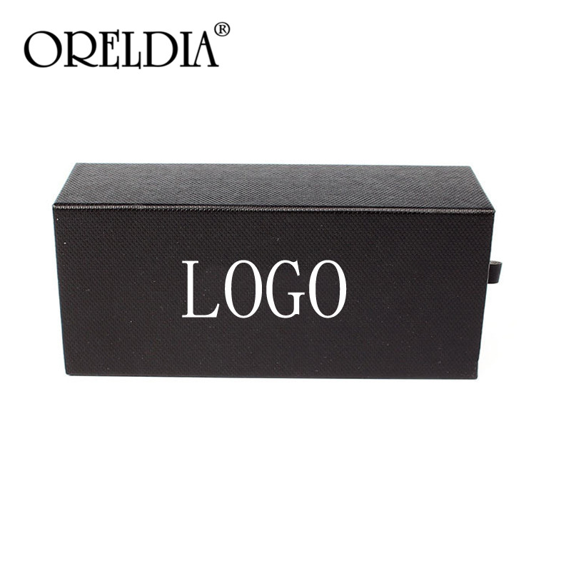 ORELDIA Sunglasses Pull Out Box Black PU Glasses Case Men Women Big Eyeglass Box Protection Package Can Custom LOGO 50 Moq