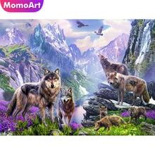 MomoArt Diamond Painting Landscape Mosaic Wolf Embroidery Full Drill Square Cross Stitch Flowers