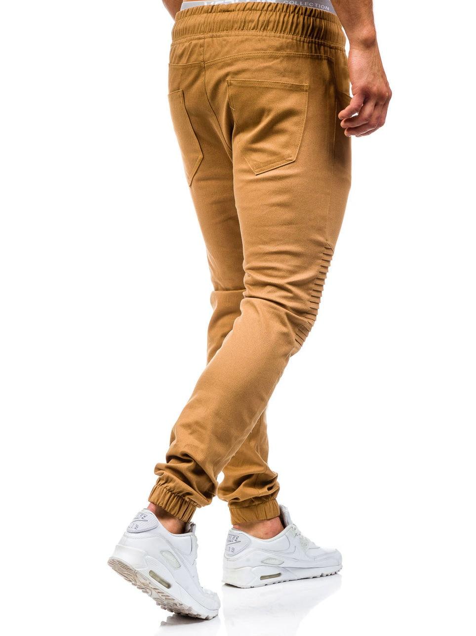Men Sweatpants Casual Pants Slim fit Drawstring Sweatpants Slacks Elastic Waist Patchwork Pleated Ultrathin Male Trousers Jogger 12