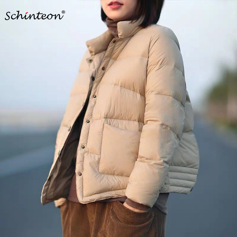 Schinteon Down Jacket Women Short White Duck Down Outwear Loose Casual Coat Ultra Light Down Jackets Vintage Autumn New Arrival