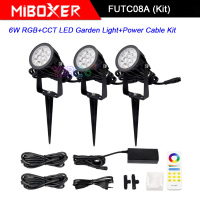 Miboxer FUTC08A 6W RGB+CCT LED Garden Light+DC24V 65W led Power Supply +Cable connector+FUT088 2.4G wireless Remote control