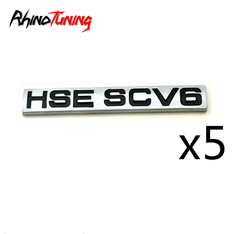 5pcs ABS HSE SCV6 Badge Auto Tailgate Side Wing For Defender Discovery Sticker Emblem