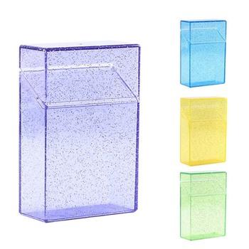 1pc plastikowa przezroczysta papierośnica (20 pojemność) lśniące pudełko na papierosy przenośny papieros uchwyt pojemnik dla palacza 5 kolorów tanie i dobre opinie CN (pochodzenie) Plastic MIRROR GTS03Z 60mm * 28mm * 91mm Green yellow black blue purple